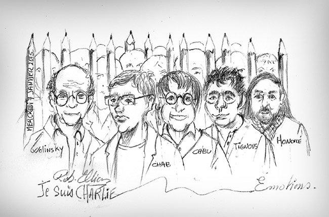 Charlie Hebdo Wolinsky, Charb, Cabu, Tigious, Honoré