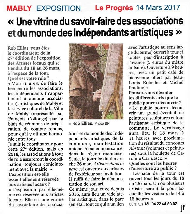 Le Progrés 14 Mars 2017 reportage Jeanie Fournier
