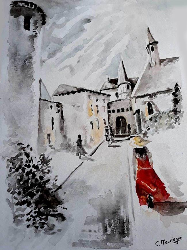 Claude Massieye j'offre mon aquarelle au peintre qui s est fait voler son tableau à charlieu !